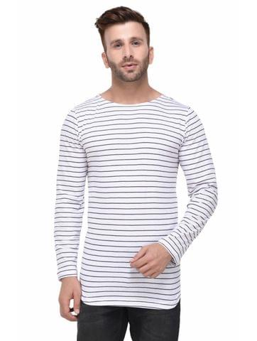 White and Black Striped Curved Hem Full Sleeve Tshirt for Men