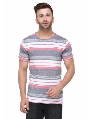 Grey Red and White Stripe Pattern Half Sleeve Tshirt for Men