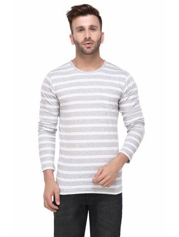Grey and White Stripe Full Sleeve Tshirt for Men