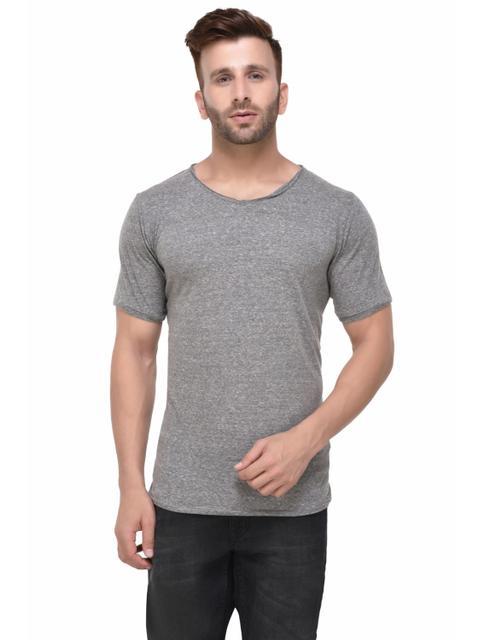 Grey Slub Fitted Half Sleeve Tshirt for Men
