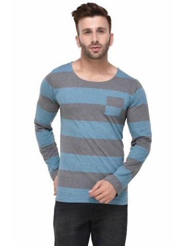 Charcoal and Blue Stripe Pocket Full Sleeve Tshirt for Men