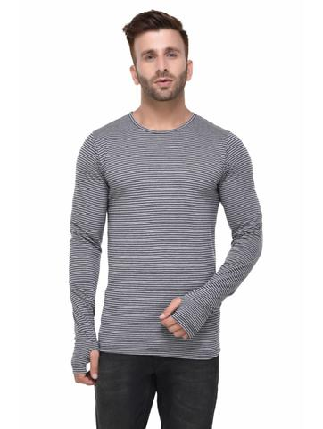 Grey Striped Thumbhole Full Sleeve Tshirt for Men