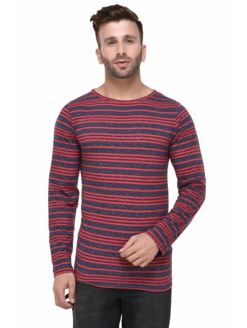 Navy Slub and Red Striped Pattern Full Sleeve Tshirt for Men