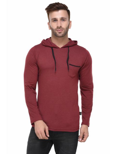Maroon Melange Hooded Full Sleeve Tshirt for Men