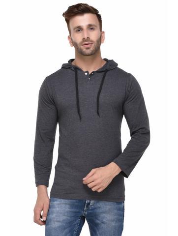 Charcoal Melange Hooded Full Sleeve Tshirt for Men