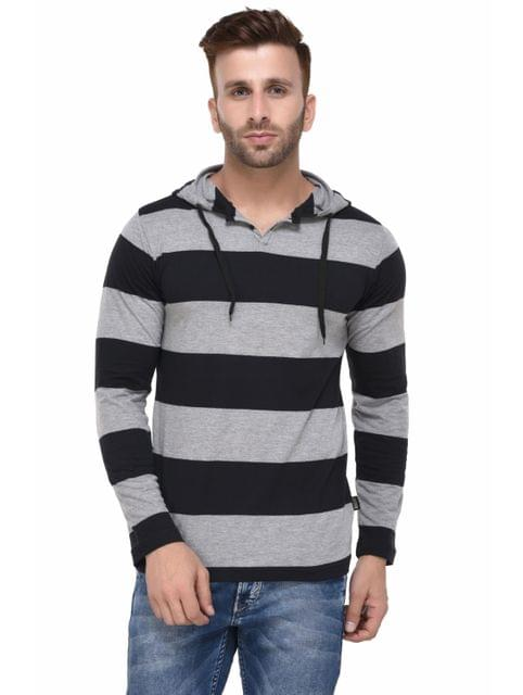 Black and Grey Striped Hooded Full Sleeve Tshirt for Men