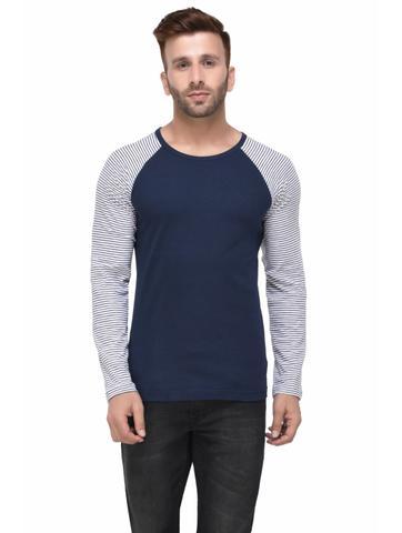 Navy Tshirt Striped Raglan Full Sleeve Tshirt for Men