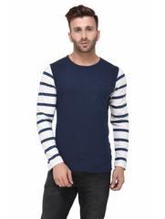 Navy Tshirt Striped White Full Sleeve Tshirt for Men