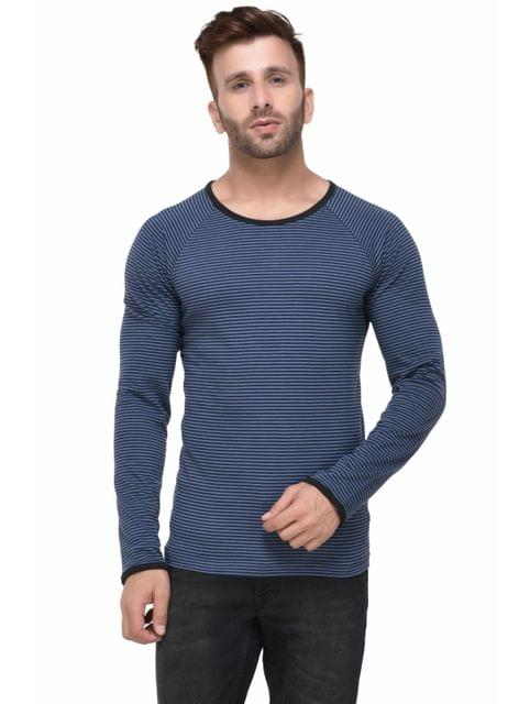 Blue and Black Striped Raglan Sleeve Full Sleeve Tshirt for Men