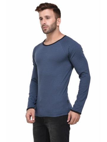 Blue and Black Striped Raglan Sleeve Full Sleeve Tshirt for Men