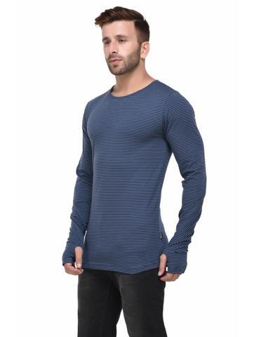 Blue and Black Striped Thumbhole Full Sleeve Tshirt for Men