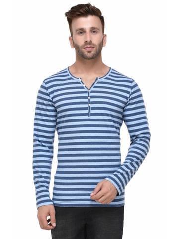 Blue Striped Henley Full Sleeve Tshirt for Men