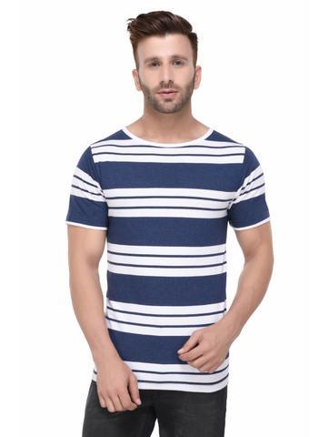 Blue Melange and White Stripe Pattern Half Sleeve Tshirt for Men
