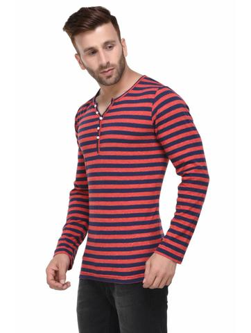 Red and Blue Striped Henley Full Sleeve Tshirt for Men