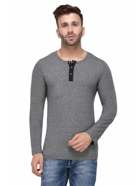 Charcoal Grindle Henley Full Sleeve Tshirt for Men
