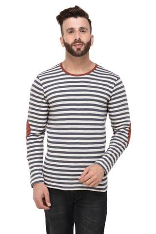 Off White & Grey Slub Stripe Elbow Patch Full Sleeve Tshirt for Men