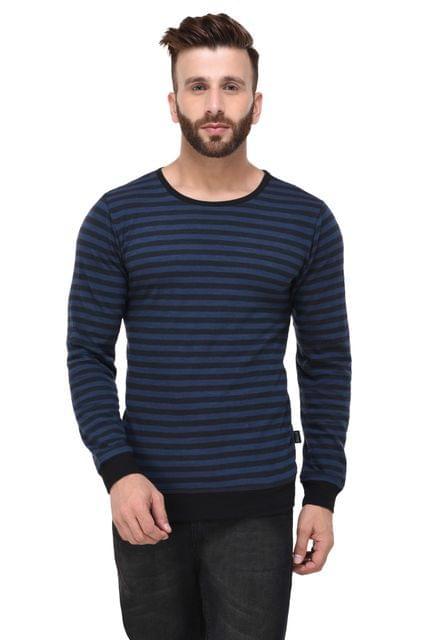 Blue & Black Slub Stripe With Cuff & Bottom full Sleeve Tshirt for Men