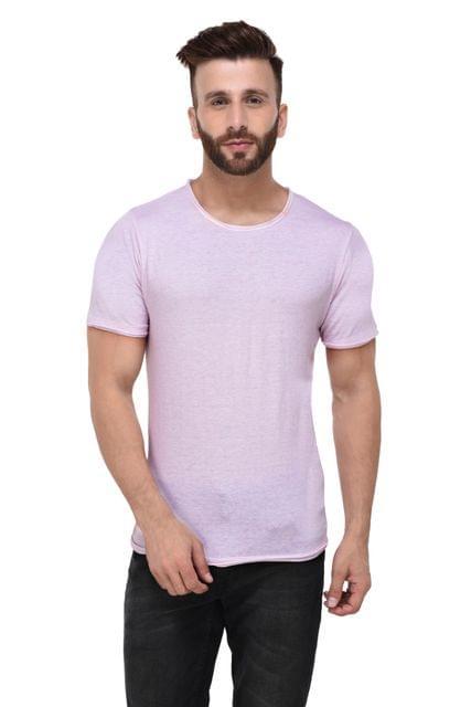 Pink Slub Raw Edge Half Sleeve Tshirt for Men