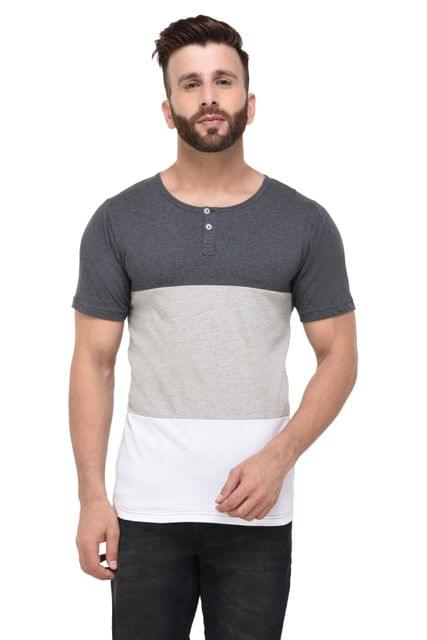 Grey & White Block Henley Half Sleeve Tshirt for Men