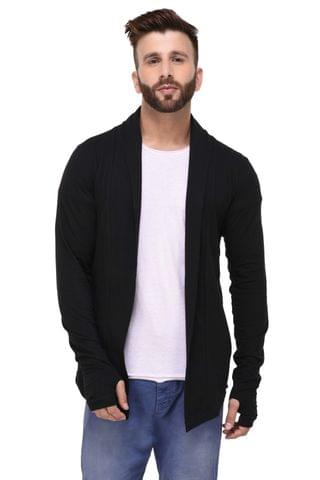 Black Thumbhole open Long Cardigan Full Sleeve Shrug for Men