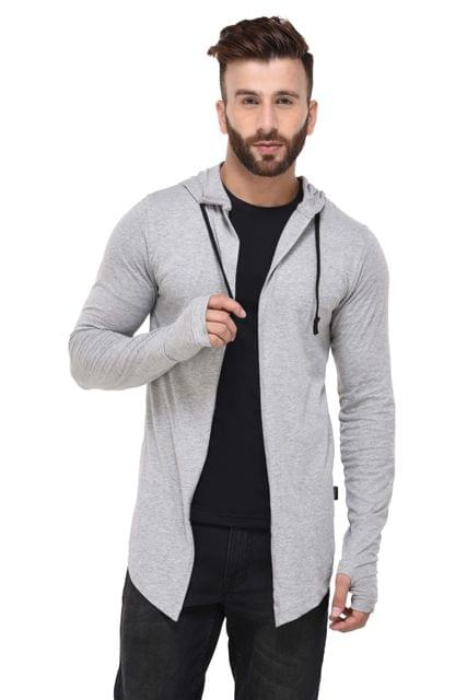 Grey Melange Hooded With Thumbhole open Long Cardigan Full Sleeve Shrug for Men