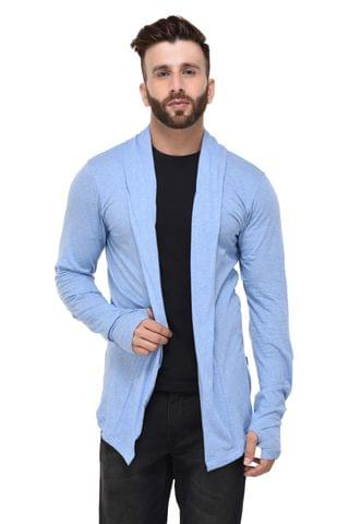 Blue Slub Thumbhole open Long Cardigan Full Sleeve Shrug for Men