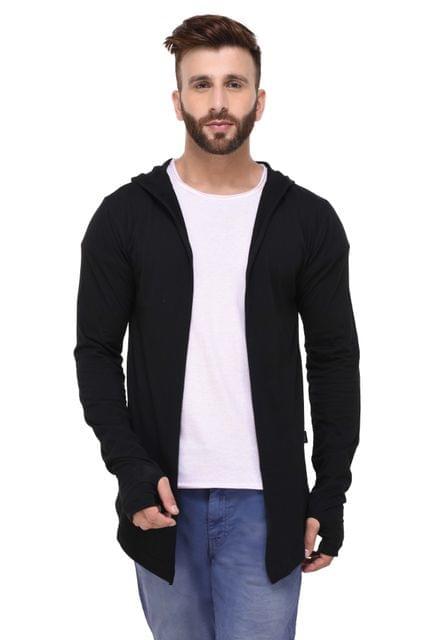 Black Hooded With Thumbhole open Long Cardigan Full Sleeve Shrug for Men