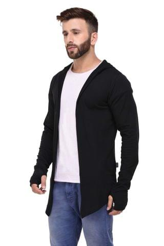 Black Hooded With Thumbhole open Long Cardigan Full Sleeve Shrug for Men