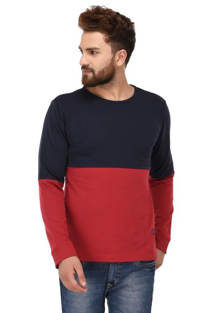 Rigo Red Blue Cotton Sweatshirt for Men