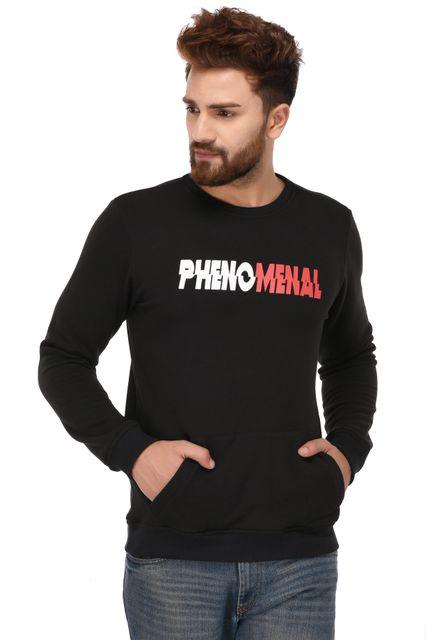 Rigo Black Cotton Printed Sweatshirt for Men