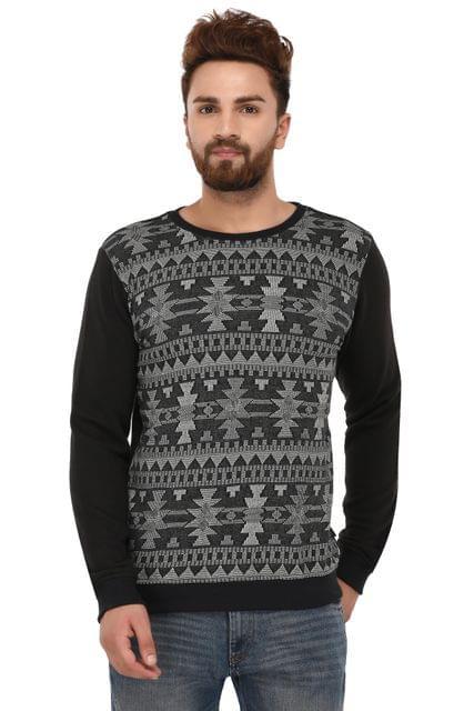 Rigo Black Grey Cotton Sweatshirt for Men