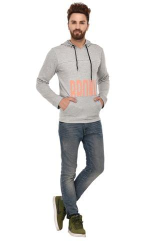 Rigo Grey Cotton Hooded Sweatshirt for Men