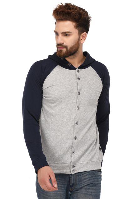Rigo Grey Blue Cotton Hooded Sweatshirt for Men