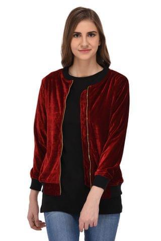 RIGO Maroon Velvet Bomber Jacket for Women