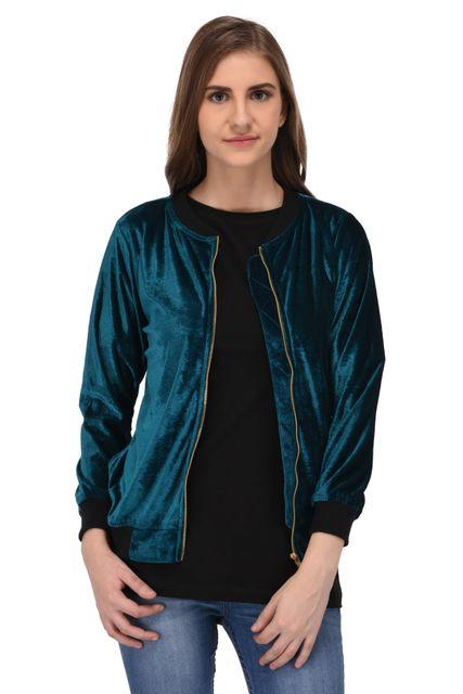 RIGO Green Velvet Bomber Jacket for Women