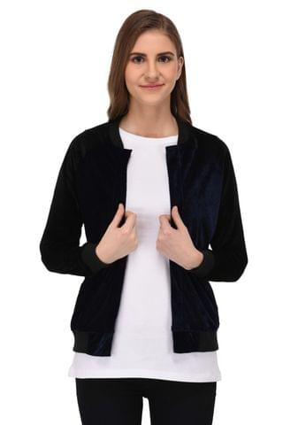 RIGO Black and Blue Velvet Bomber Jacket for Women