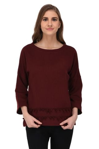 RIGO Maroon Sweatshirt with Pom Pom Lace Hem for Women