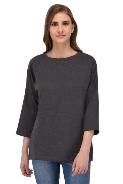 RIGO Charcoal Grey Long Sweatshirt with Side Slits for Women