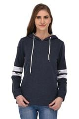 RIGO Navy Blue Hooded Sweatshirt with Striped Sleeves for Women