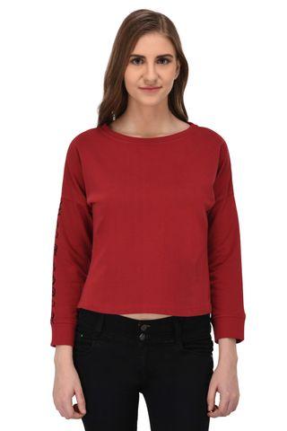 RIGO Red Terry Sweatshirt with Printed Slogan Sleeve for Women