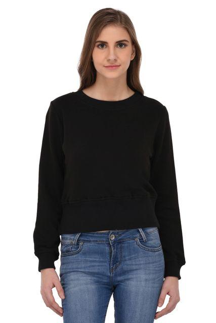 RIGO Black Terry Crop Sweatshirt for Women