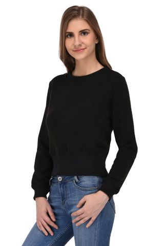 RIGO Black Terry Crop Sweatshirt for Women