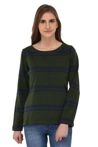 RIGO Blue Striped Green Sweat Top for Women