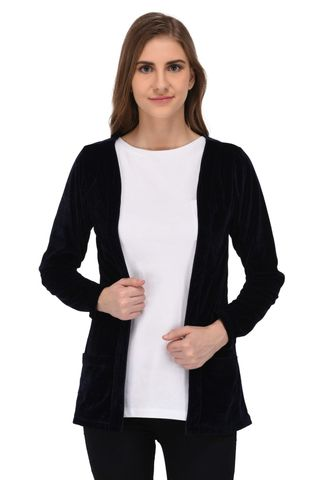 RIGO Navy Blue Velvet Long Shrug for Women