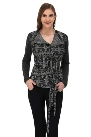 RIGO Charcoal Grey Textured Terry Shrug for Women
