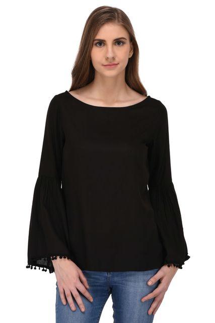 RIGO Black Rayon Bell Sleeves Top for Women