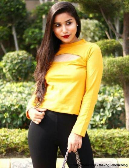 RIGO Mustard Yellow Cutout Front Top for Women