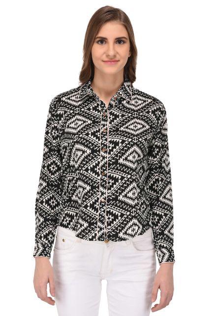 RIGO Black and White Abstract Print Shirt for Women