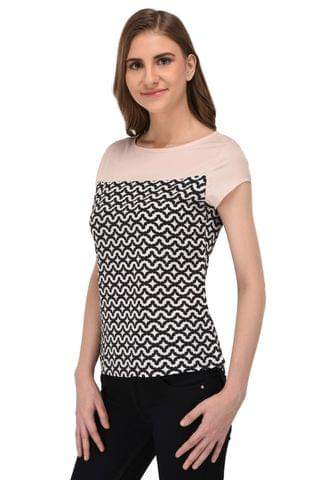 RIGO Abstract Geomtric Print with Peach Yoke Top for Women