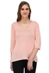 RIGO Coral Striped Off White Top for Women
